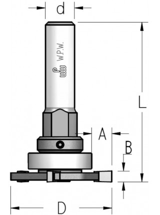 Фреза дисковая для паза в четверти с комплектом подшипников D47,6 В3 d8 NUS03045