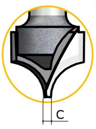 Фреза гравірувальна радіусна D9,5 В9 d6 RU05003