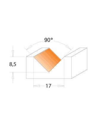 Фреза IGM гравірувальна одноножова A90° D17 I8,5 S8 F051-17081
