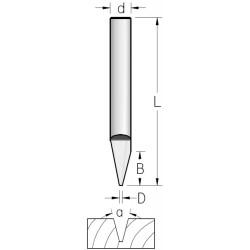 Фрези гравірувальні V-образні однозубі
