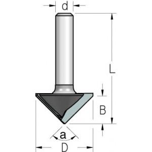 Фреза V-образна для гипсокартона α90° D26 В12,7 d8 VG90275