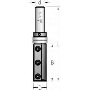 Фреза обгонна WPW, ножі з трьома отворами, верхній підшипник D19 В50 d12 Z2 PFM8192