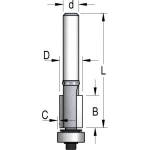 Фреза обгонная с увеличенным нижним подшипником D9,5 В13 d6 FO20953