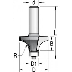 Фрезы радиусные двузубые с нижним подшипником