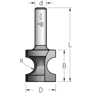 Фреза радіусна під штап R5,2 D22,2 В19 d8 RF05205
