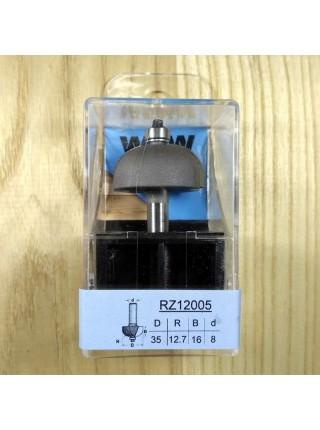 Фреза напівгалтельна з нижнім підшипником R12,7 D35 В16 d8 RZ12005