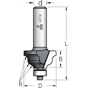 Фреза профильная калевочная, нижний подшипник D25 R3 В13 d6 HRJ0303