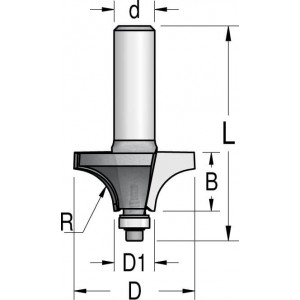 Фреза радиусна зі зменшеним підшипником R3,2 D15,8 d6 HRP0303