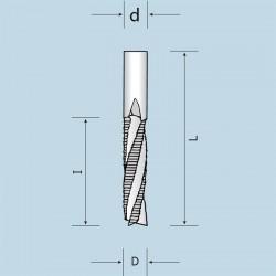 Фрези спіральні цільнотвердосплавні тризубі (Z = 3) з подрібнювачем, викид стружки вгору NORDUTENSILI (Італія)