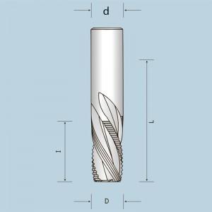 Спіральна фреза спеціальна Z2+2, викид стружки вниз D10 I32 d10 13610003221N