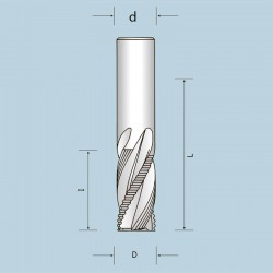 Фрези спіральні цільнотвердосплавні чотиризубі (Z=2+2) спеціальні, викид стружки вгору NORDUTENSILI (Італія)