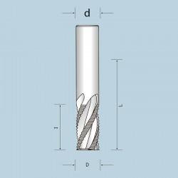 Фрези спіральні цільнотвердосплавні чотиризубі (Z =4) з подрібнювачем, викид стружки вгору NORDUTENSILI (Італія)