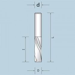 Фрезы спиральные цельнотвердосплавные двухзубые (Z=2) с выбросом стружки вниз NORDUTENSILI (Италия)