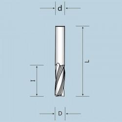 Фрези спіральні цільнотвердосплавні тризубі (Z = 3) з викидом стружки вгору NORDUTENSILI (Італія)
