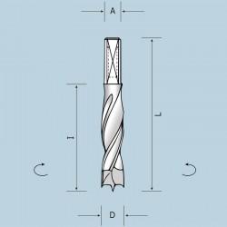 Cверла NordUtensili (Италия) для глухих отверстий с хвостовиком A=8x20
