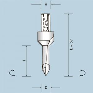 Свердло скрізне із зенківкою D10 I10 L57 LH 035100010572P