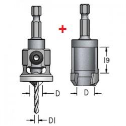 Комплекти: зенківка з обмежувачем та пробочник з шестигранним хвостовиком