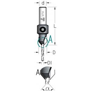 Зенківка з конічним свердлом HSS D₁4,4 D11,1 AC04405T