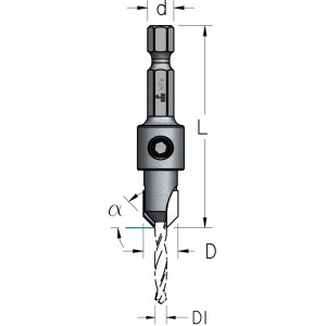 Зенківка зі стандартним свердлом HSS D₁2 D9,5 AS02004S