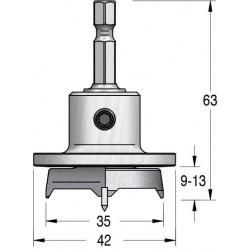 Висвердлювач під петлю з обмежувачем глибини свердління та шестигранним хвостовиком