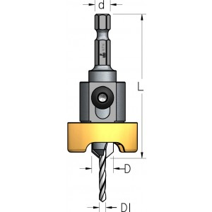 Зенківка з шестигранним хвостовиком та металевим обмежувачем D₁3,2 D9,5 ABB3204SC