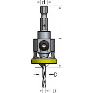 Комплект: зенківка з обмежувачем та пробочник, шестигранний хвостовик D₁2,5 D8 PLP1254